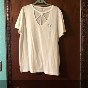 PINK Victoria's Secret Tops - PINK Strappy Bling Campus Shirt